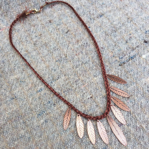 copper feather fringe necklace