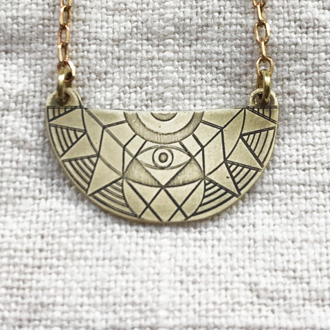 AJNA half medallion mandala necklace