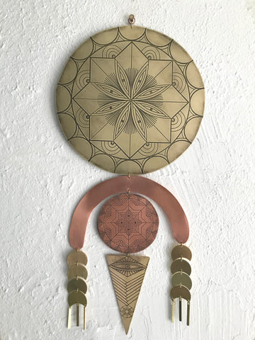 Mind's Eye Etched Brass and Copper Wall Hanging