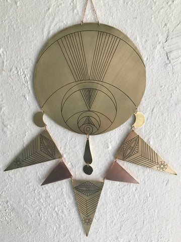 Etched Brass and Copper Crescent Moon with Triangles Wall Hanging