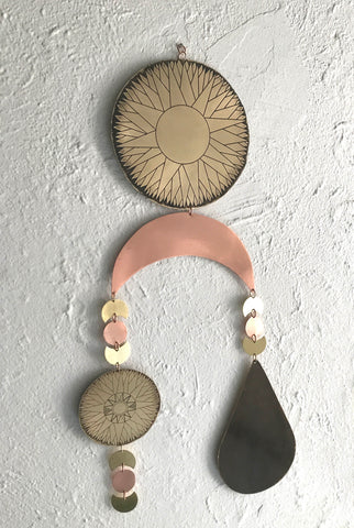 Etched Brass and Copper Sun and Black Tear Wall Hanging