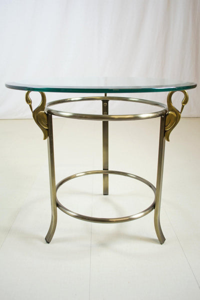 Brass Swan Glass Side Table By DIA Design Institute Of America Mid Century  Modern