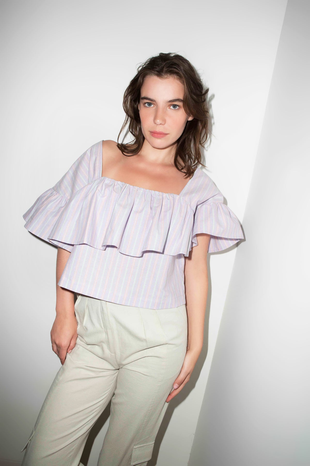 SHAELA TOP in Lilac Stripe