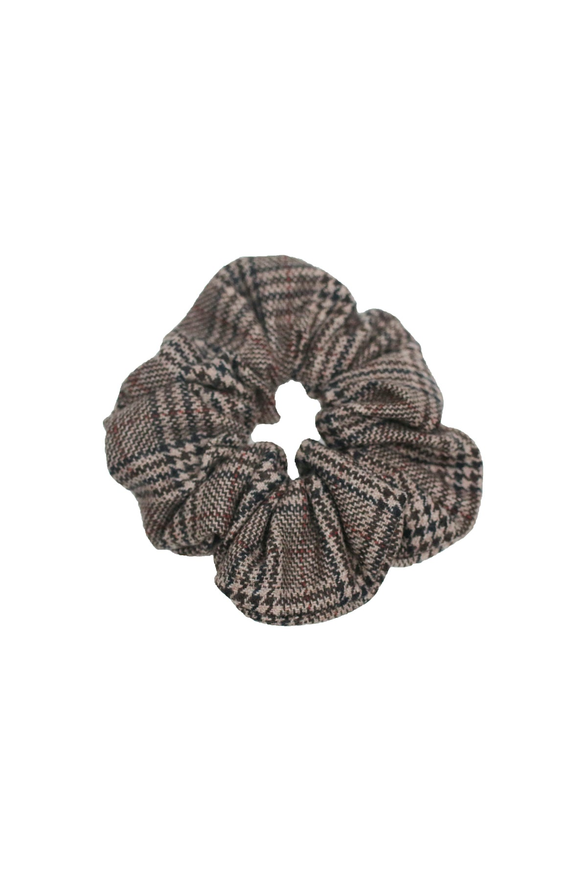 Charcoal/Brown Check Scrunchie