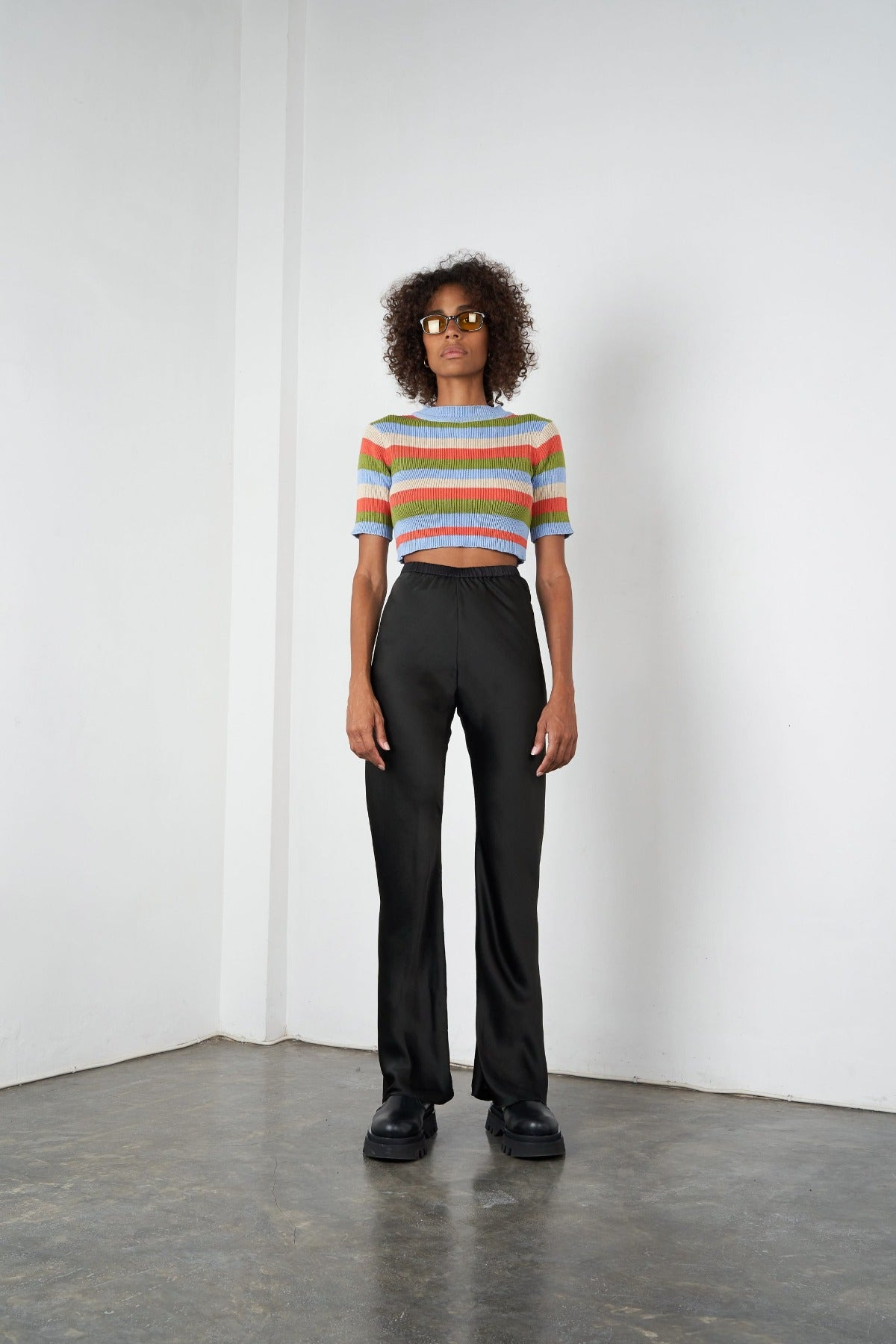 Arthur Bias Silk Pant in Licorice