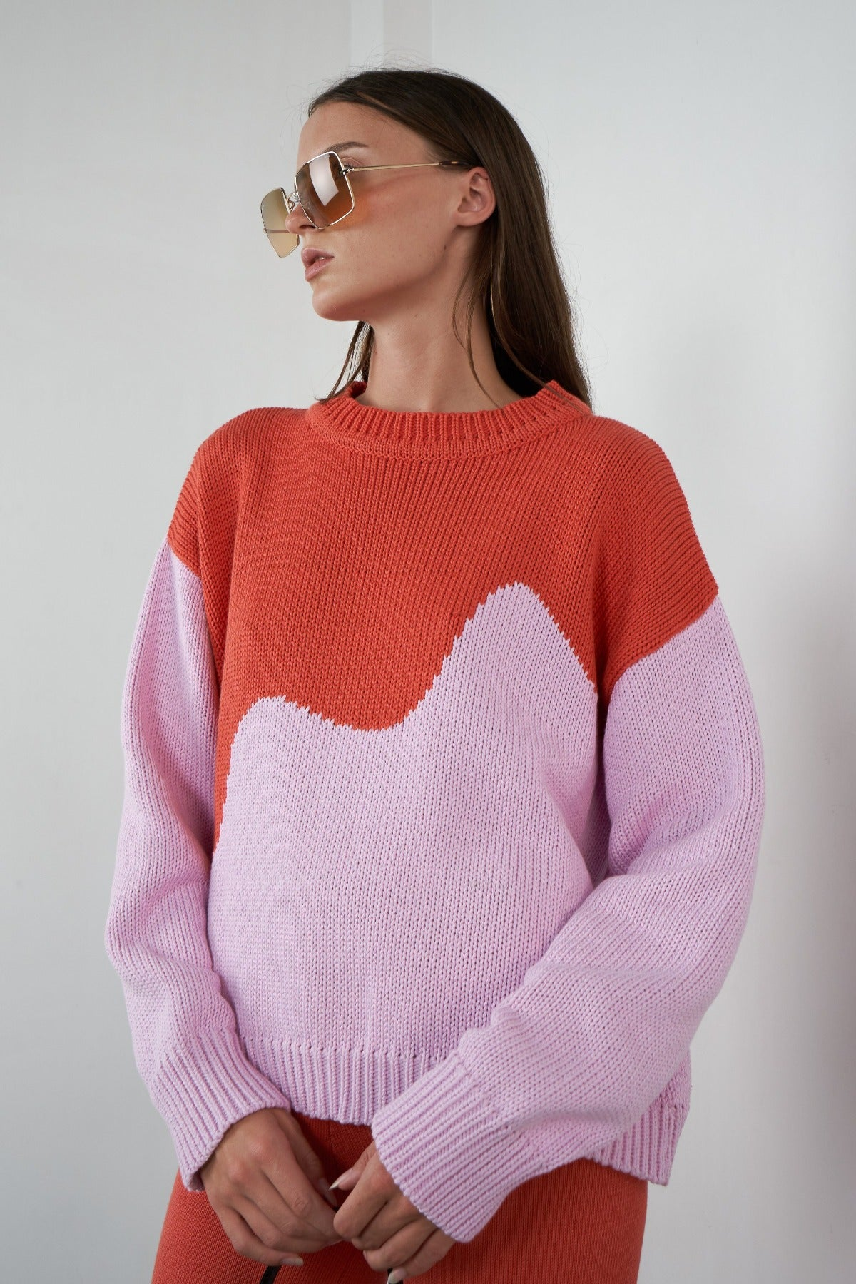 Arthur Oversized Pullover in Spliced Pink/Melon