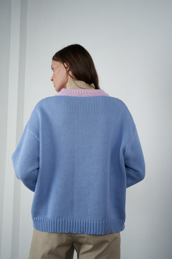 Arthur Oversized Pullover in Pink/Perriwinkle