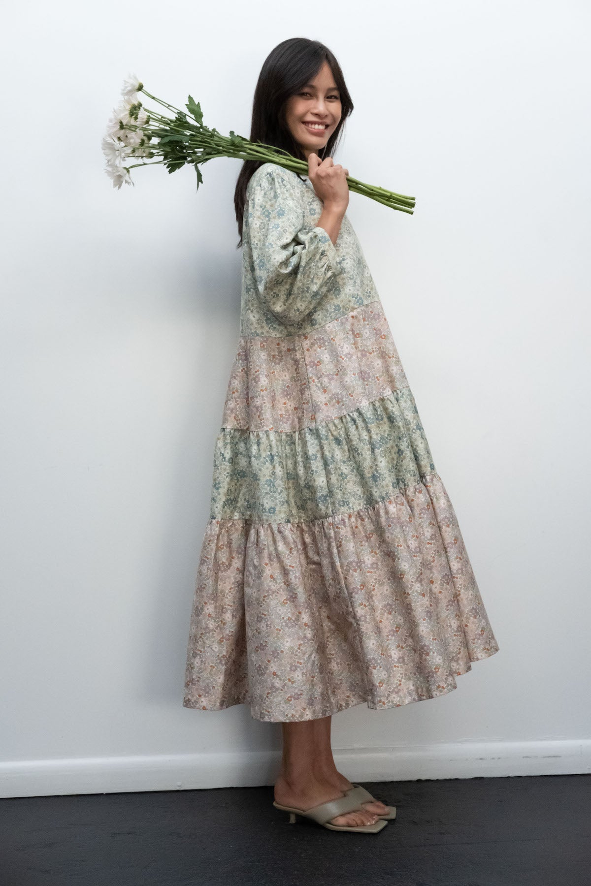 Kurt Lyle x Toit Volant Ayni Dress in Pink/Green Mini Floral Combo