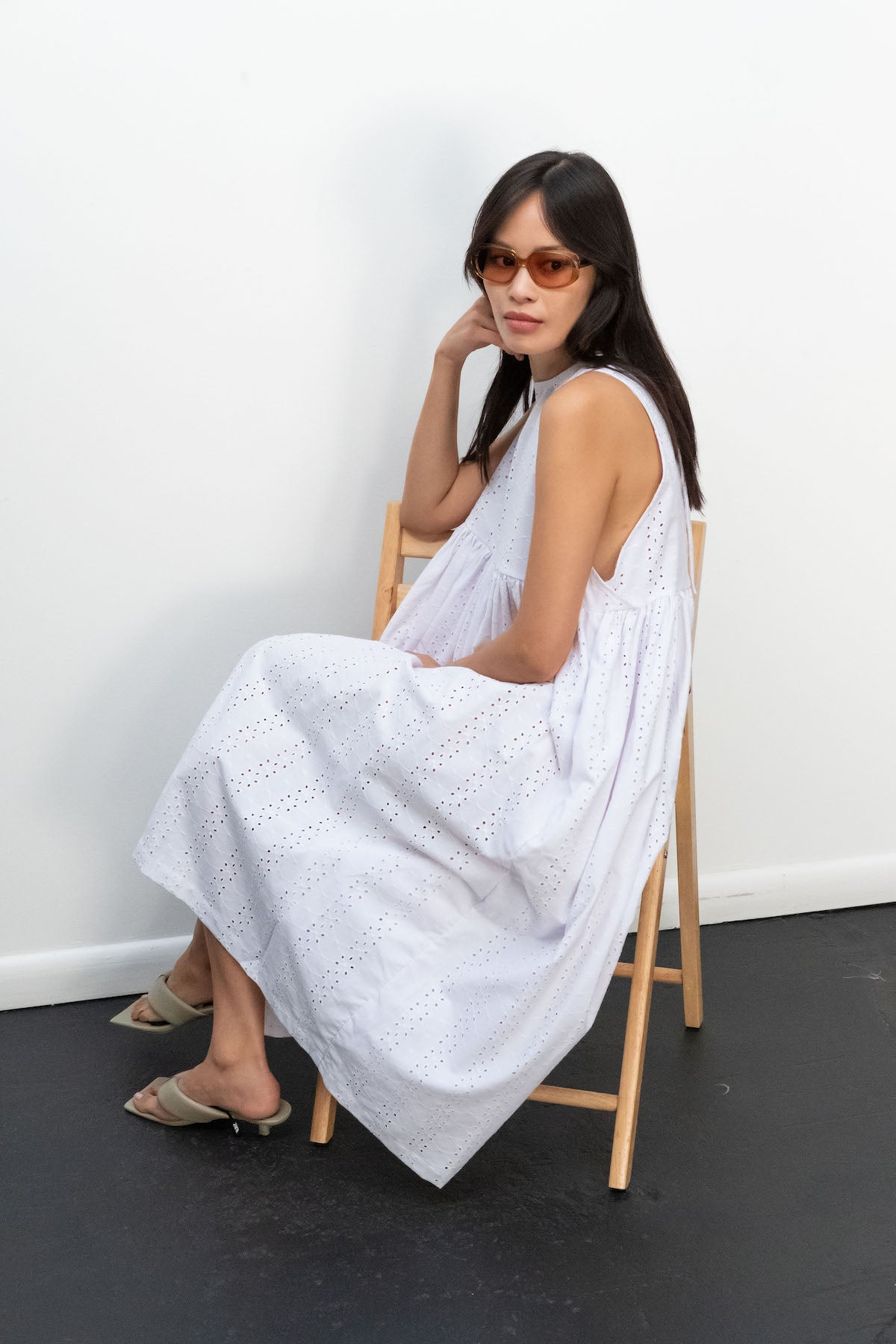 Kurt Lyle x Toit Volant Leora Dress in White Embroidered Eyelet