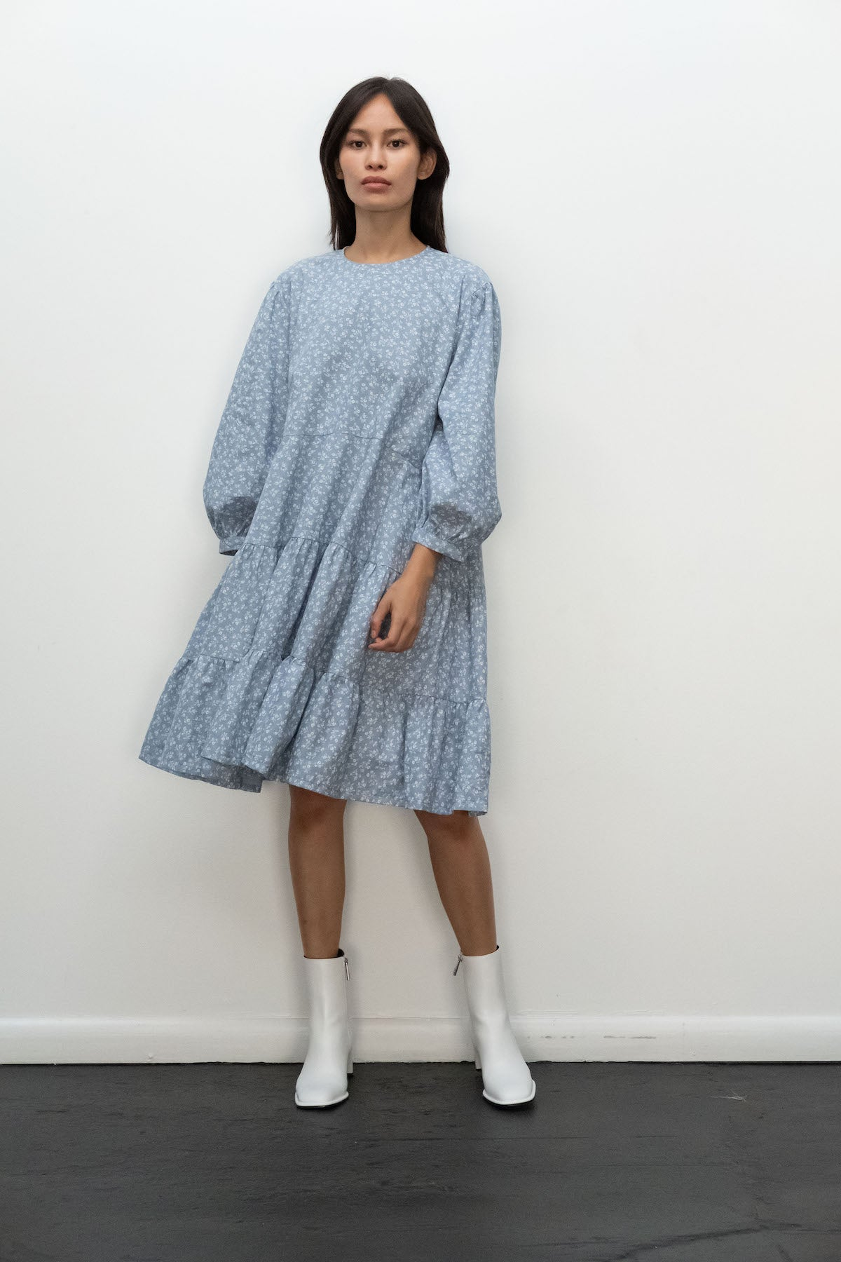 Kurt Lyle x Toit Volant Emmy Dress in Floral Blue Chambray