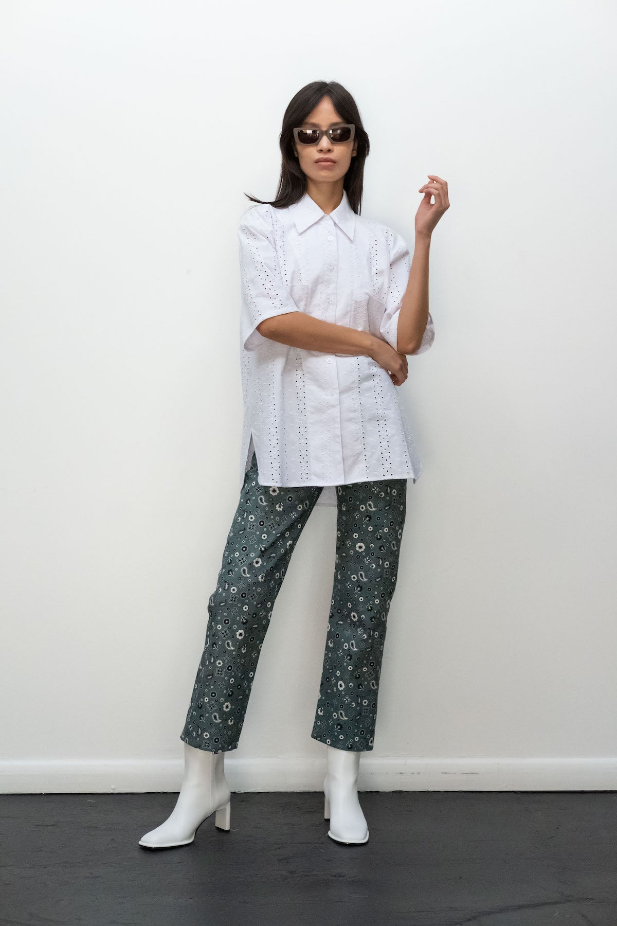Kurt Lyle x Toit Volant Patti Shirt in White Embroidered Eyelet