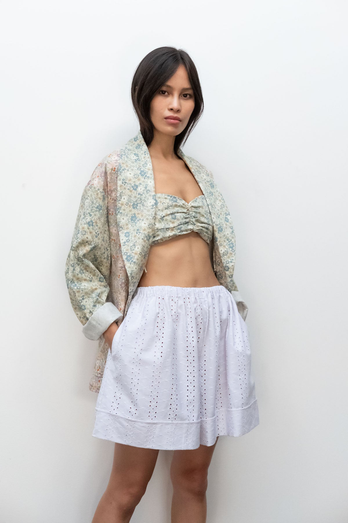 Kurt Lyle x Toit Volant Wynn Shorts in White Embroidered Eyelet