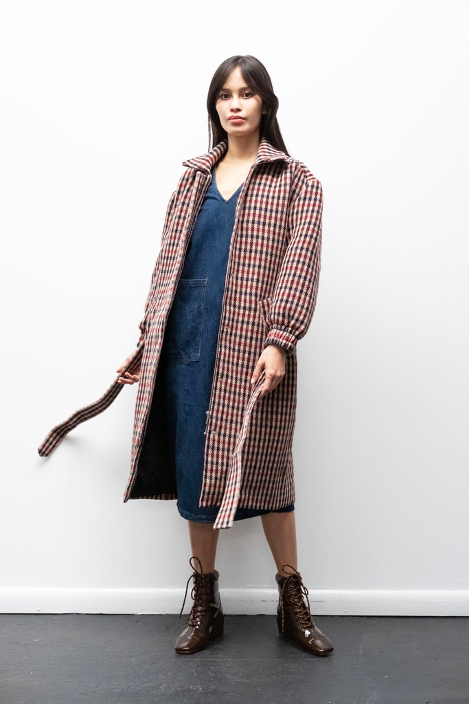 Debbie Coat in Red + Brown Check