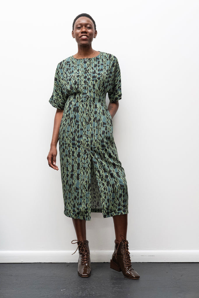 Dayana Dress in Teal Crazy Check