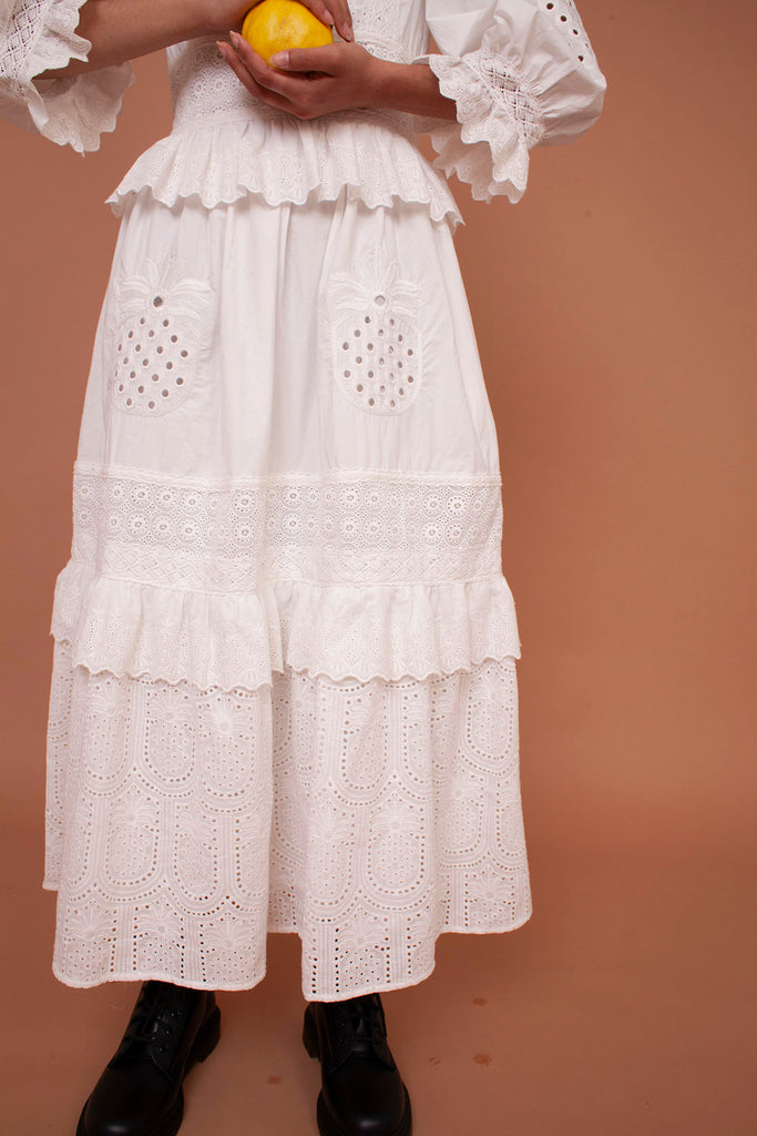 Meadows Pineapple Dress in White