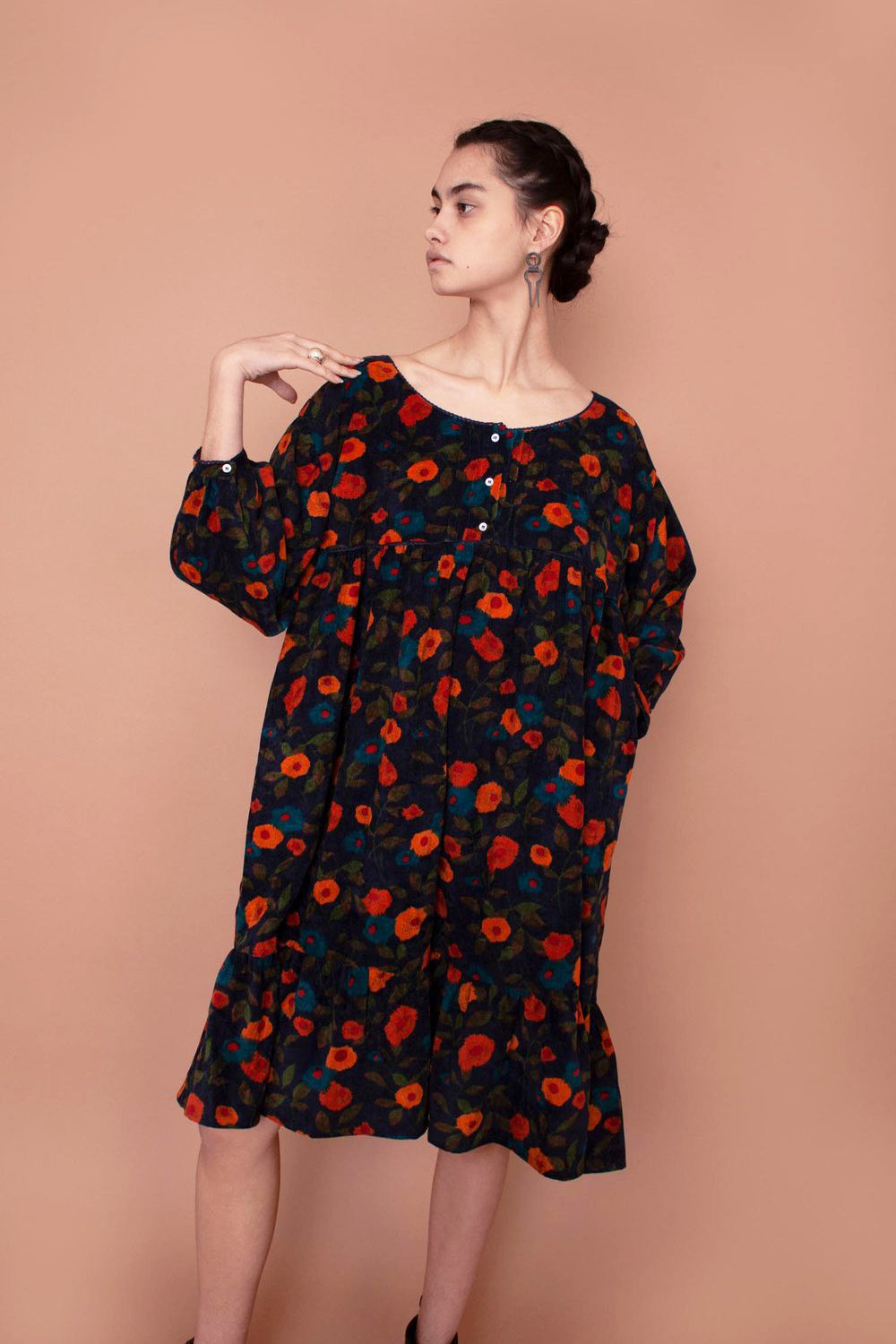 Meadows Artemesia Cord Dress in Navy Floral