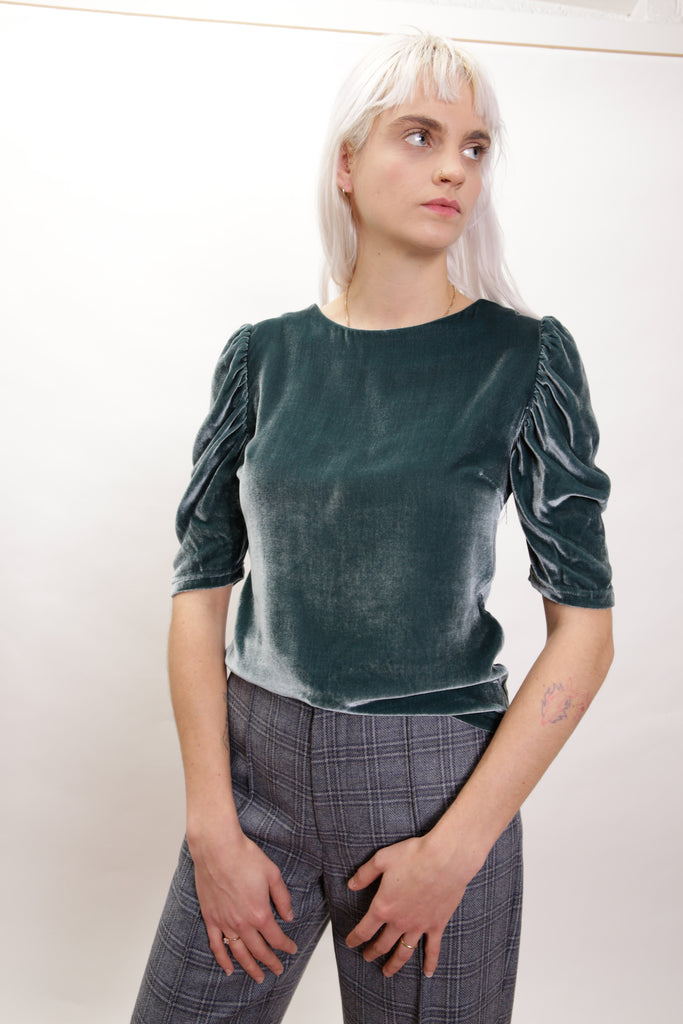 Nina Top in Teal Velvet