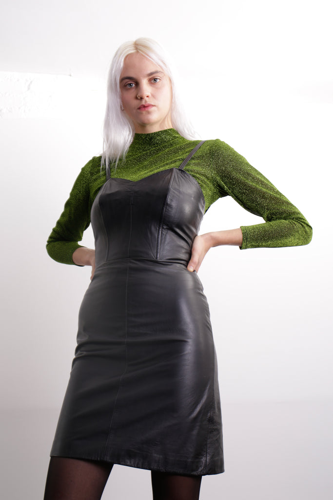 SINGLES Black Leather Dress