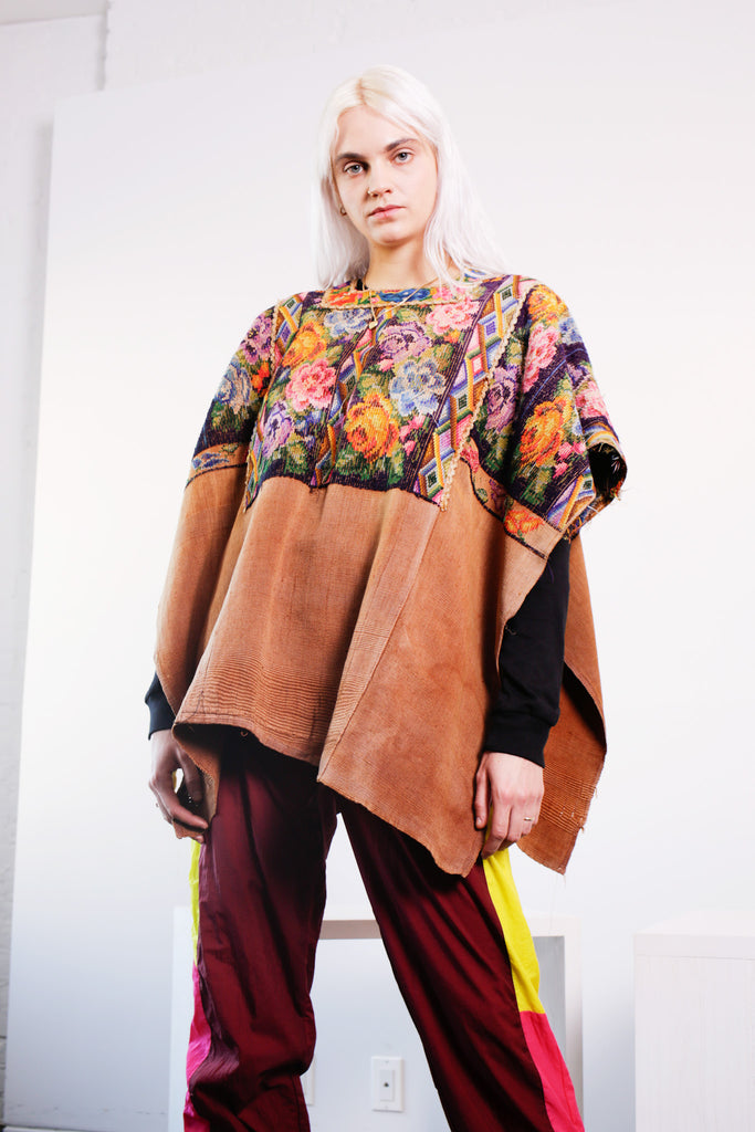 SINGLES Floral Embroidered Poncho