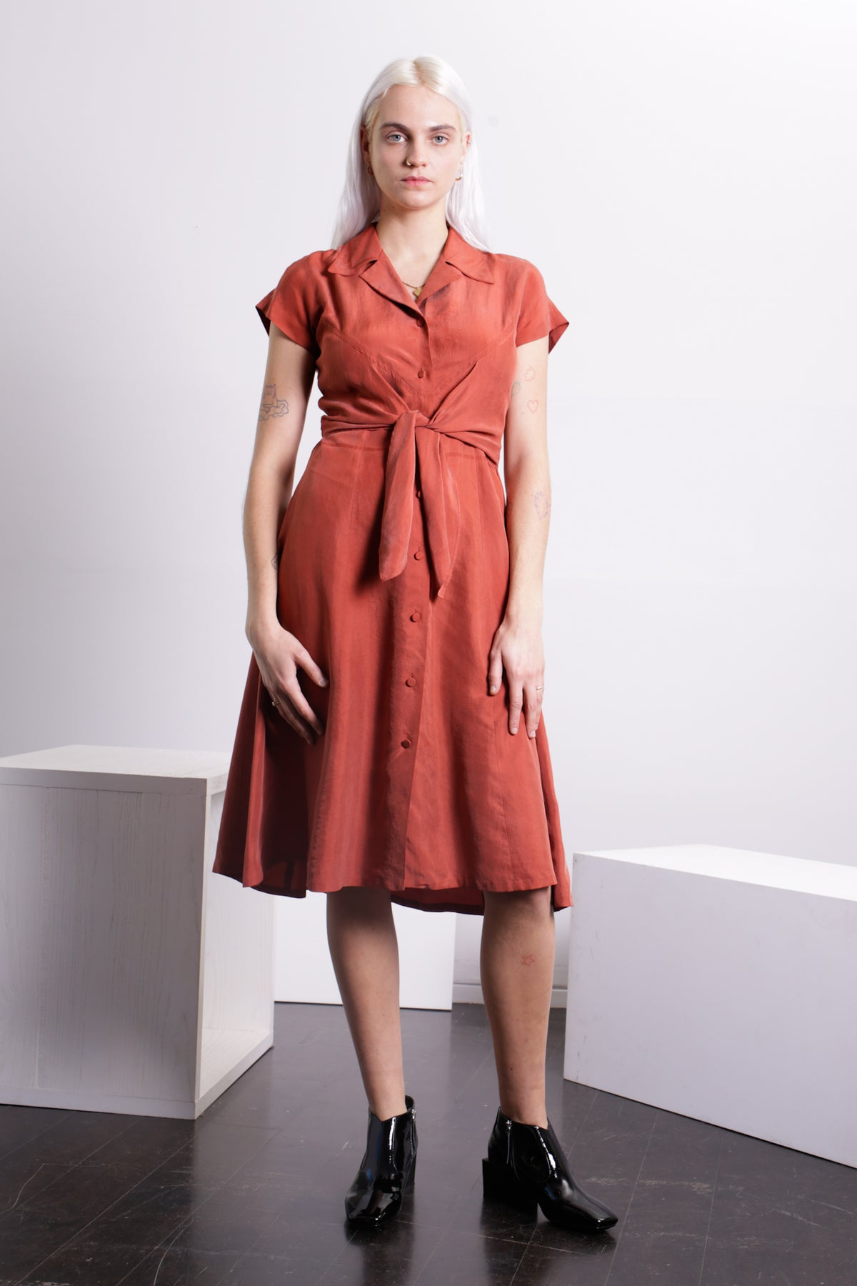 SINGLES Washed Silk Shirtdress