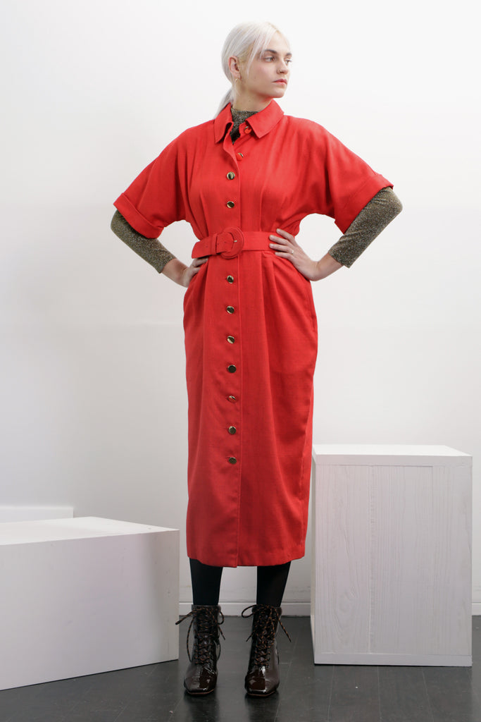 SINGLES Cherry Red Shirtdress
