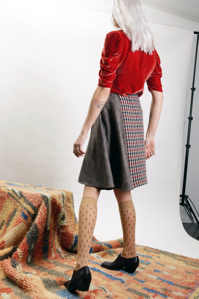 Tillary Skirt in Red + Brown Check