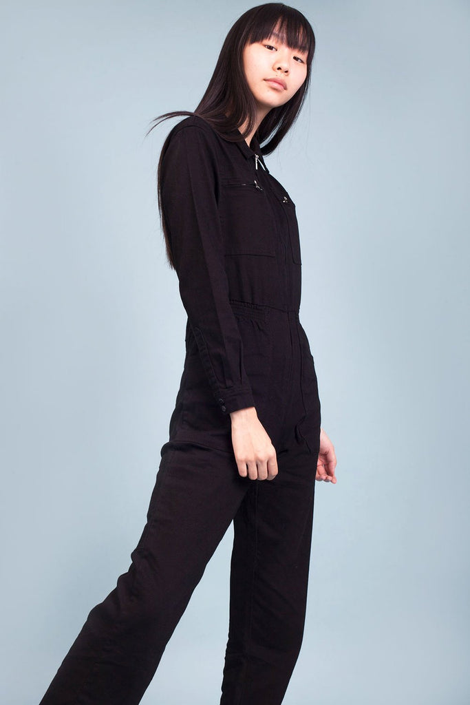 LF Markey Danny Boilersuit in Black. Women's workwear inspired jumpsuit.