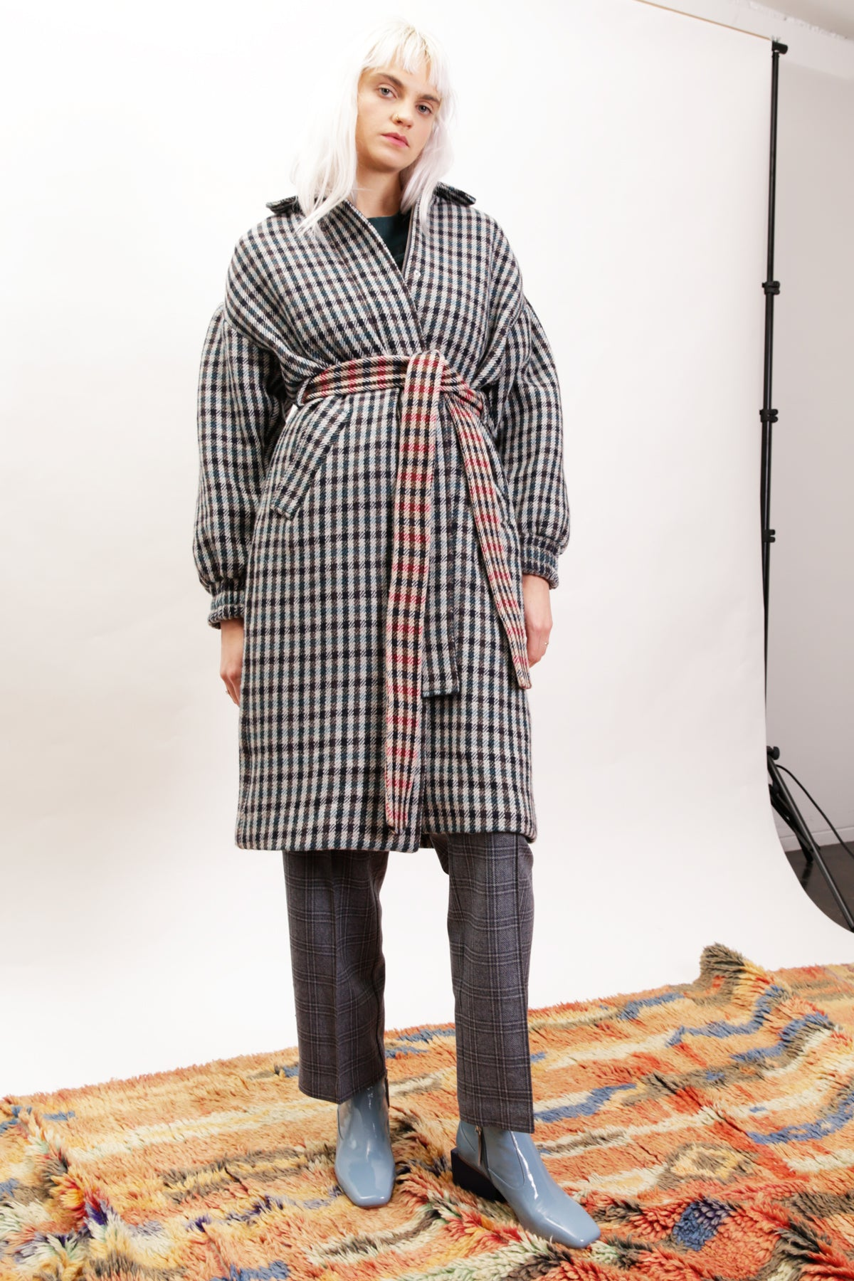 Debbie Coat in Blue + Grey Check