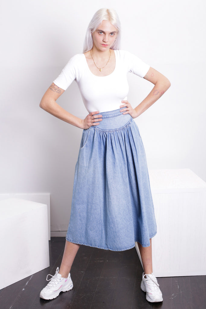 SINGLES Gathered Denim Skirt