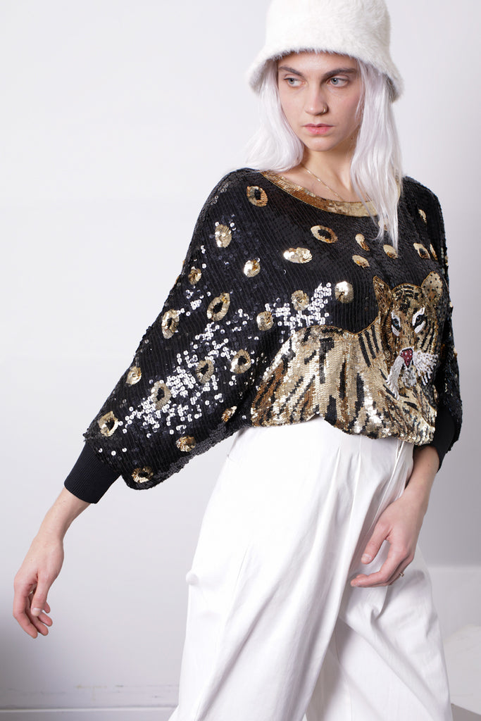 SINGLES Sequin Tiger Top