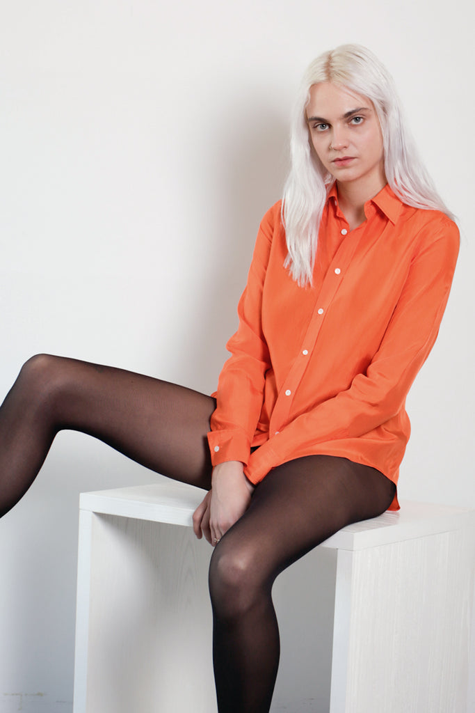 SINGLES Silk Orange Buttondown Shirt