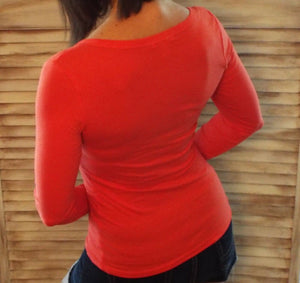 Sexy Low Cut V Neck Stretch Fitted Cleavage Button Henley Pocket Top Coral S/M/L