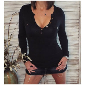 Very Sexy Deep V Neck Plunge Cleavage Military Henley Pocket Top Black S/M/L