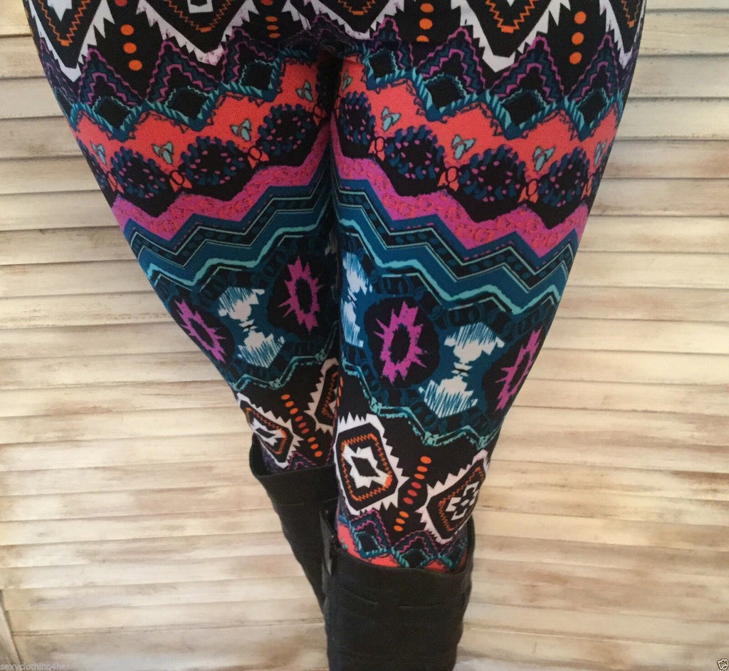 Aztec Navajo Tribal Leggings Stretch Lounge Pants Juniors Teal Plum Black OS