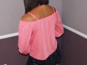 Very Sexy Scoop Neck Cold Shoulder Cutout Button Floaty Top Coral Pink S/M/L