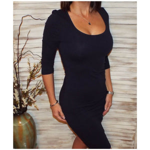 Very Sexy Scoop Neck Cleavage Bodycon Curve Hugging Club Dress Navy S/M/L/XL