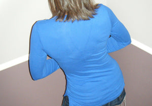Very Sexy Deep V Neck Plunge Cleavage Military Henley Pocket Top Blue S/M/L