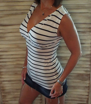 Very Sexy Striped Low Cut Cleavage Empire Faux Wrap Summer Tank Top White S/M/L