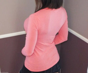 Very Sexy Slimming V-Neck Low Cut L/S Tissue Basic Baby Shirt Top Coral S/M/L