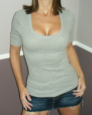 Very Sexy Scoop Neck Low Cut Thermal Cleavage Basic Baby Tee Top Gray S/M/L
