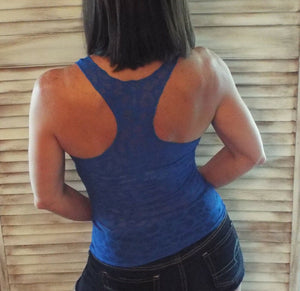 Sexy Ribbed Racerback Scoop Animal Cleavage Sheer Fitted Tank Top Blue S/M/L