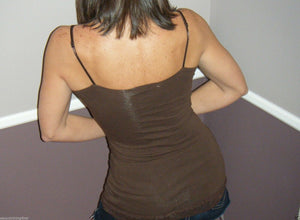 Very Sexy Slimming Low Cut Cleavage Lace Long Layering Club Tank Cami Brown L
