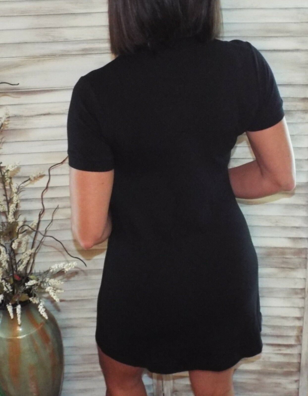 Sexy Collared Henley Pique Polo V-Neck Stretch Summer Dress Black S/M/L