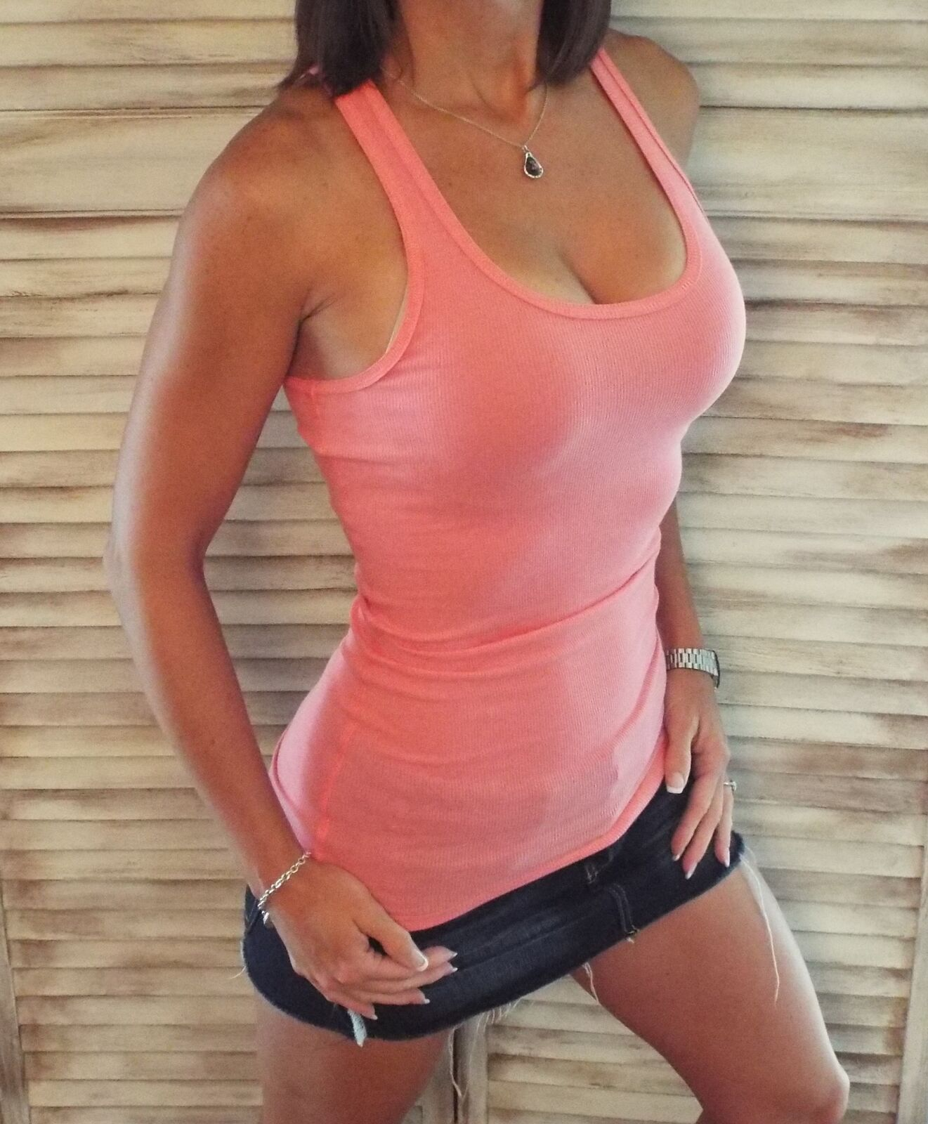 Sexy Ribbed Racerback Low Scoop Boy Beater Cleavage Tank Top Coral 1X/2X/3X