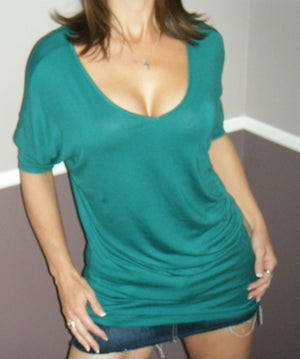 Very Sexy Dolman Deep V-Neck Cleavage Asymmetrical Tunic Top Teal Green S/M/L/XL