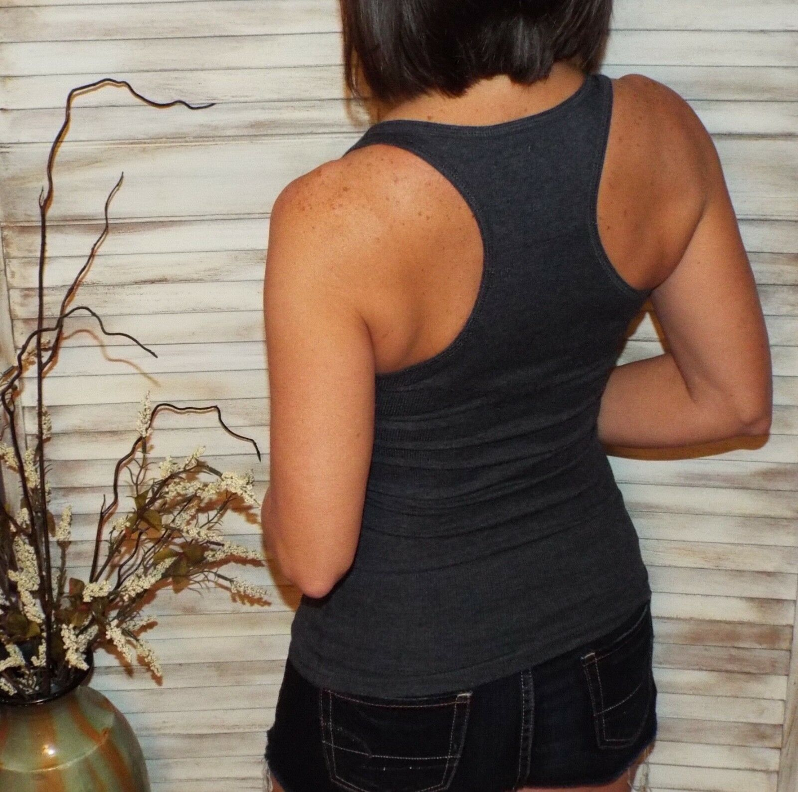 Sexy Ribbed Racerback Low Scoop Boy Beater Cleavage Tank Top Gray 1X/2X/3X