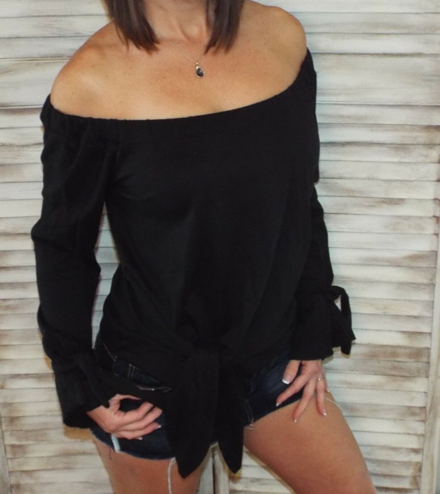 Very Sexy Off Shoulder Tie Front French Terry Blouse Shirt Top Black S/M/L