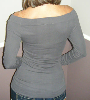 Very Sexy Low Cut Cleavage Off Shoulder Sweater Blouse Shirt Top Gray S/M M/L