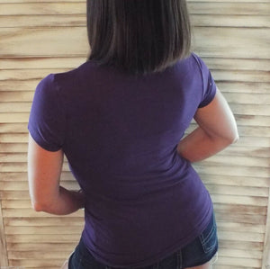 Sexy Low Cut Scoop Neck Cleavage Baby Slimming Basic Tee Shirt Purple S/M/L/XL