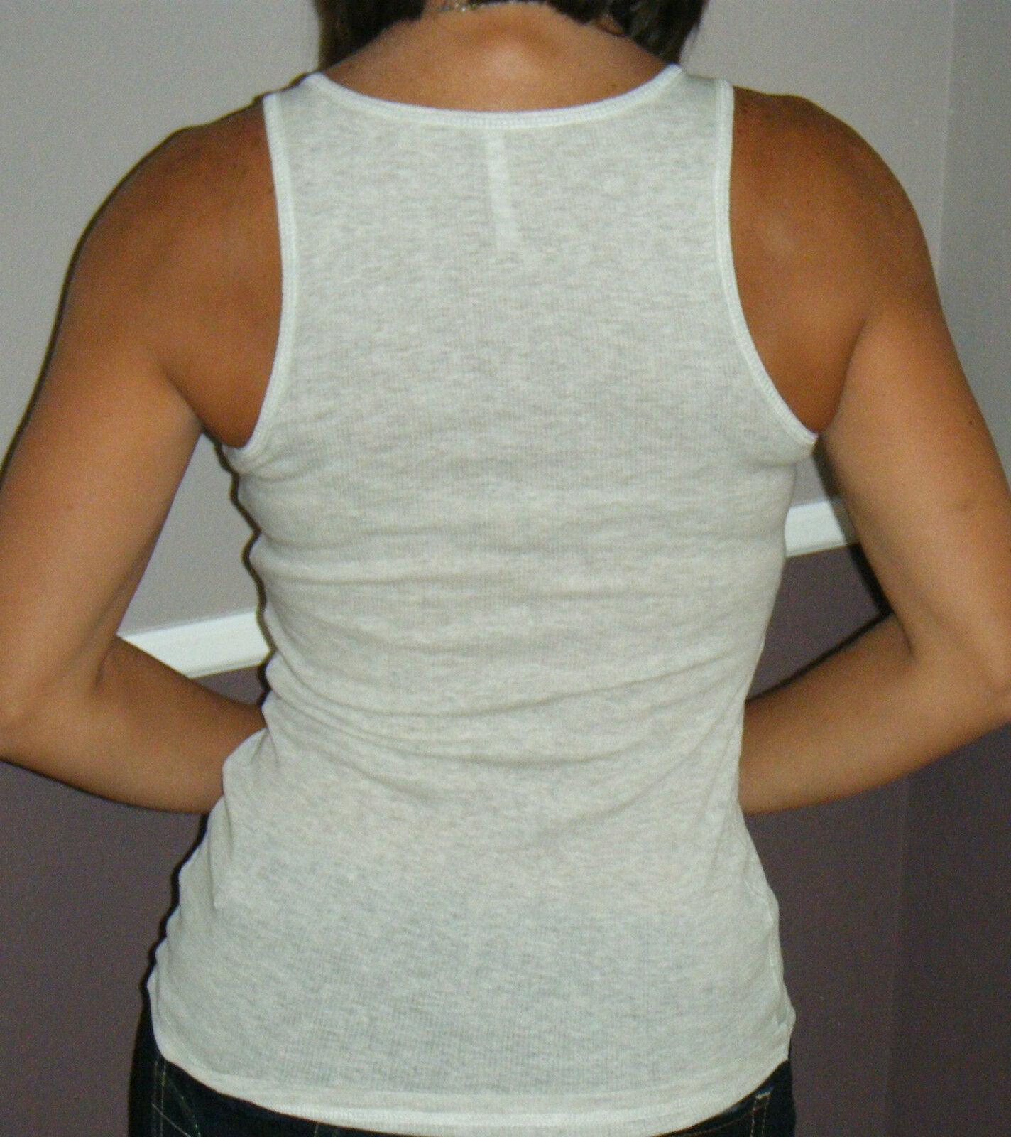 Sexy Ribbed Boy Beater Low Cut Scoop Neck Summer Tank Top Heather Taupe S/M/L